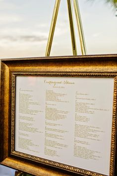 Gold seating chart by Blush Paperie