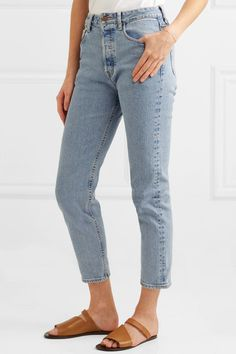 Cropped High-rise Slim-leg Jeans - Mid denim Bassike s89xok