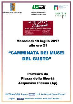 Camminata dei musei del gusto il 19 luglio ad Acquaviva Picena