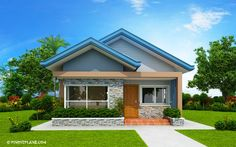 Another concept of three bedroom Bungalow House plan with total floor area of 82 square meters is conceptualized with blue color combinations.