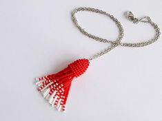 Items similar to Red tassel necklace, scarlet red & whitest white beaded tassels brush choker on chain 20 inches, Boho style on Etsy Beaded Tassel Necklace, Scarlet, Tassels, Red And White, Crochet Earrings, Personalized Items, Trending Outfits, Unique Jewelry, Handmade Gifts