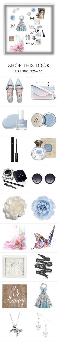 """""""Pretty baby blue April 22"""" by omegafphie2121 ❤ liked on Polyvore featuring Miu Miu, M2Malletier, Lancôme, Alice + Olivia, Cara, Monsoon, Jane Lee McCracken, Laura Ashley, Native State and Belle Maison"""