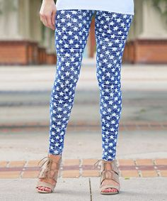Another great find on #zulily! White & Blue Star Leggings - Women by Mayah Kay Fashion Boutique #zulilyfinds