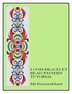For sale is Bead Loom Vintage Motif 3 Multi-Color Bracelet Pattern in PDF format.    For this design I used Miyuki Delica seed beads in size 11.