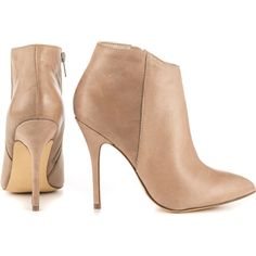 Steve Madden Women's Grrand - Stone Lea (6,650 INR) ❤ liked on Polyvore featuring shoes, boots, ankle booties, pointy-toe boots, pointy toe booties, steve madden boots, beige boots and beige ankle booties