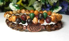 Rustic Nature stacked bracelet set made with beautiful Old World Czech beads surrounded by 6mm Picture Jasper complimented by a Red Copper Tree Branch focal bead with Chestnut Brown Matte Glass beads.