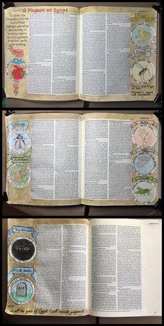 Bible art journaling. 10 Plagues of Egypt.