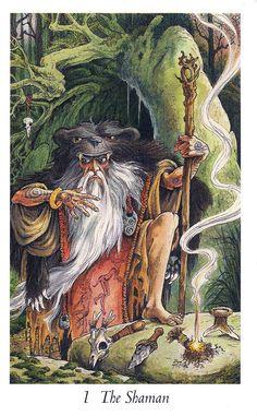 Inner Whispers: May Queen Reading The Shaman The Wildwood Tarot Gandalf, Tarot Celta, Wildwood Tarot, Yule, Dragons, The Magician Tarot, Art Populaire, Major Arcana, Oracle Cards