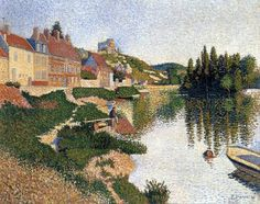 Paul Signac.Riverbank, Les Andelys, 1886