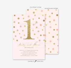 Items Similar To Twins Girl First Birthday Invitations