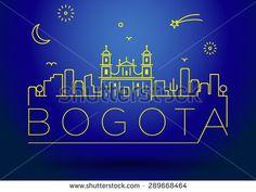 Bogota City Line Silhouette Typographic Design