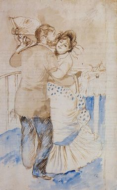 Pierre Auguste Renoir (1841-1919) - Dance in the Country - Watercolour, brush and brown wash over graphite on paper - 1883 - Private Collection
