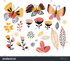 Set of summer design elements. Butterflies, leaves and flowers. Decorative objects for cards, invitations or poster.
