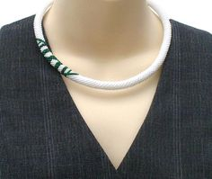 White Bead Rope Necklace Contemporary Beadwork by BeadworkAndCoe
