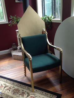 DIY Royal Throne prop. Easy and under $25, including chair! Great for medieval movies or plays.