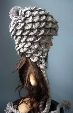 "Crocheted ""Feather"" Winter Hat"