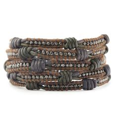 Gunmetal Nugget Wrap Bracelet on Knotted Natural Grey Leather