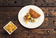 Pork Cordon Bleu Pork jowl  |  Taleggio cheese  |  Capocollo ham  |  market vegetables  |  The Dom fries