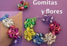 Cómo hacer pulsera de gomitas con flores sin telar