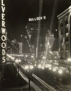 Silverwoods and Bullocks department stores light up downtown Los Angeles. ~Via Linda Hansen ~ My mother was in Women's Fashion Procurement at Bullocks...What memories I heard from my Mother ~ What Interesting Career Opps. she had!