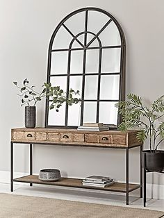 With a gently distressed black iron finish and twenty mirrored panels, our bold industrial style window mirror will make a statement in your living space. Inspired by our bestselling window mirror collection, it encapsulates factory chic with an elegant Dining Room Mirror Wall, Window Mirror Decor, Hallway Mirror, Hall Mirrors, Hallway Wall Decor, Hallway Decorating, Entryway Decor, Room Decor, Dark Hallway