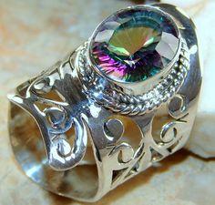| Mystic Quartz Cut Work Ring : Indian craft Mystic Quartz Silver Ring | 925 Mystic Quartz Silver Ring wholesale |