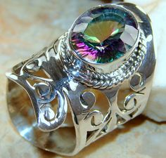 | Mystic Quartz Cut Work Ring : Indian craft Mystic Quartz Silver Ring | 925 Mystic Quartz Silver Ring wholesale |