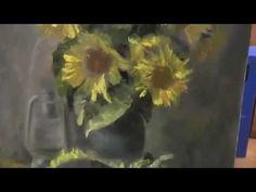 Как научиться рисовать подсолнухи маслом, Сахаров Игорь, уроки живописи