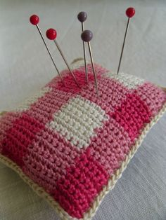 Gingham style crochet pin cushion