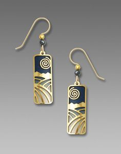 Etched brass column earrings in hand painted navy and taupe, with shiny gold plated 'moon and field' overlay, accented with matching beads. Beautiful picturesque design, just like a peaceful winter night scene. Lightweight and comfortable. Great w...