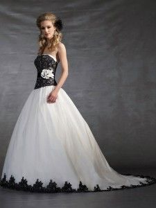 Black and White Wedding Dress with Black Belt - St. Pete Museum of ...