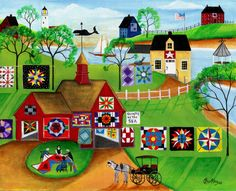 Red Barn Quilts Apples of Yesteryear Print Country Quilts, Country Art, Primitive Folk Art, Wow Art, Naive Art, Barn Quilts, Art Studios, Traditional Art, Art Pictures