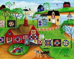 QUILT MAKERS RED BARN FOLK ART PRINT, by Cheryl Bartley