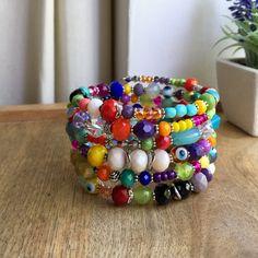 Colourful Layered Bracelet, Multi coloured Wrap bracelet, Summery bracelet, Bohemian style bracelet, Memory wire bracelet, Chunky Bracelet