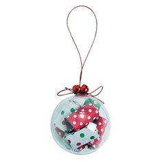 """This Rolled Up Paper Christmas Ornament Craft Kit is a festive and fun craft project for the holidays!  Kids and adults alike will love making these Christmas tree ornaments.  Also makes a great homemade gift! Plastic. 2 1/4"""" diam.  © OTC"""