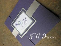 Square Pocketfold Wedding Invitation  Purple Silver by J2ADesigns, $5.00