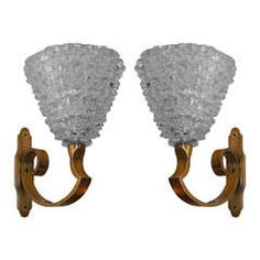 Pair of Wall Sconces in Murano Glass by Barovier and Toso