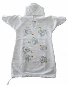 Gambies Unisex-Baby Cloud Sheep Hooded Gown that Grows with Baby White One Size USA Grown & Sewn. Pre-washed & Pre-shrunk. Hand-silkscreened. Convenient Hood. Swaddle to Toddle Growth Feature.  #Gambies #Apparel