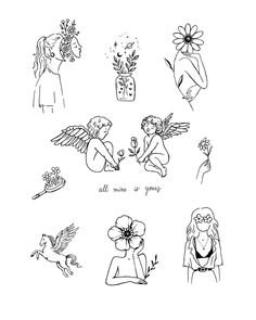 Cute Tattoos For Women Small Flash Art Tattoos, Body Art Tattoos, Tattoo Flash Sheet, Line Art Tattoos, Tatoos, Home Tattoo, Little Tattoos, Small Tattoos, Unique Small Tattoo