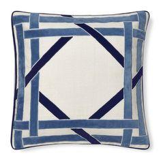 Cane Velvet Applique Pillow Cover - Could copycat pattern using ribbon; Intricate design