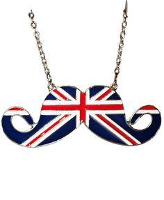 Union Jack Print Moustache Pendant Chain Necklace from Chicnova