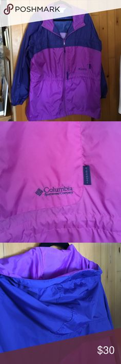 """Columbia sportswear jacket XL Purple and navy blue Columbia sportswear jacket. The pictures don't show the  true colors.  They are even. there is no discoloration. There are two pockets on the side and one pocket along the left breast. There's toggles to cinch in the waist. There is also a hood. The sleeves don't have a seam at the shoulder. But the under arm length is about 21 1/2"""" The cuffs are elastic. The back length is 32"""". There is also a nice Velcro covered strip on the hood so you…"""