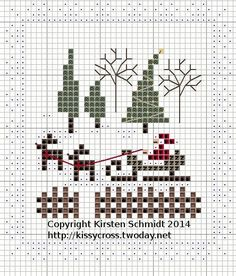 Cross Stitch Santa Sleigh and Reindeer