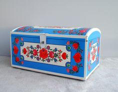 Collectible German Cookie Tin, Vintage Lebkuchen metal box, Blue white red canister