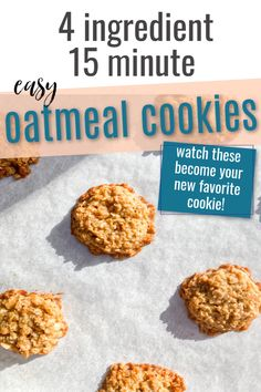 These oatmeal cookies are not only delicious, but the easiest you'll find! Just 4 simple pantry ingredients: oats, butter, brown sugar and eggs transform into the yummiest cookies the whole family will love. Perfect for breakfast as a treat or a holiday dessert! Mini Cookies, Oatmeal Cookies, Yummy Cookies, Holiday Desserts, No Bake Desserts, Vegetarian Eggs, School Treats, Perfect Breakfast, 4 Ingredients