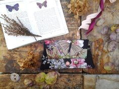 Dark Floral Butterfly Purse, Vintage fabric Embroidered Pouch