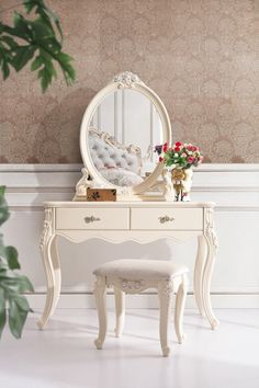 high class european style dressing table/dresser with dressing stool/chair white. high class european style dressing table/dresser with dressing stool/chair white hand-carved solid wood bedroom furniture Solid Wood Bedroom Furniture, Wooden Bedroom, Furniture Vanity, Bedroom Vintage, Furniture Decor, Bedroom Decor, Luxury Furniture, Mirror Bedroom, Furniture Movers