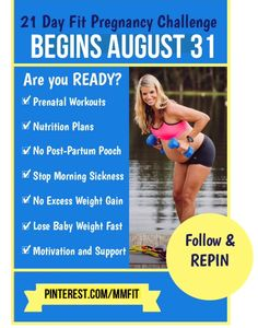 Join the Pregnancy Challenge. Just taking healthy steps every day to help you stay on track for a healthy and FIT pregnancy with No cravings, No aches and pains, No excess weight gain. Every day I will post a challenge for you to do whether it's a safe prenatal workout, trying a healthy recipe, healthy cooking , sample menus and to a of motivation and support. It's 21 days and a great way to get motivated to have a fit pregnancy! Repin and join us!