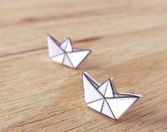 Paper Boat Stud Earrings - Original Illustration on Shrink Plastic with Surgical Steel Posts