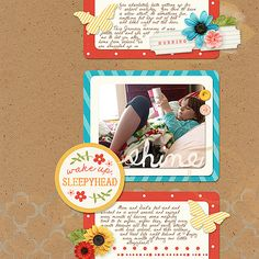 Digital Scrapbook layout featuring Rise and Shine by Kristin Cronin-Barrow and Studio Basic; DJB Miss Mary Downton font by Darcy Baldwin both available at www.sweetshoppedesigns.com.  Created by Juli Fish